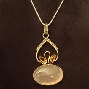 GENUINE ROSE QUARTZ Handmade necklace .925 silver